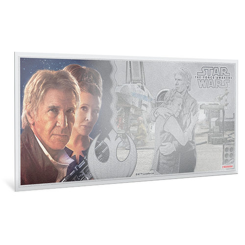 Star Wars: The Force Awakens - Leia Organa™ & Han Solo™ 5g Silver Coin Note