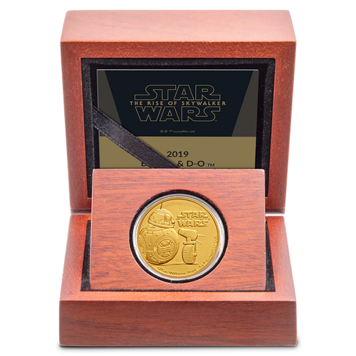 Star Wars: The Rise Of Skywalker - BB8 & D-O 1/4oz Gold Coin Display
