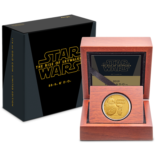 Star Wars: The Rise Of Skywalker - BB8 & D-O 1/4oz Gold Coin Packaging