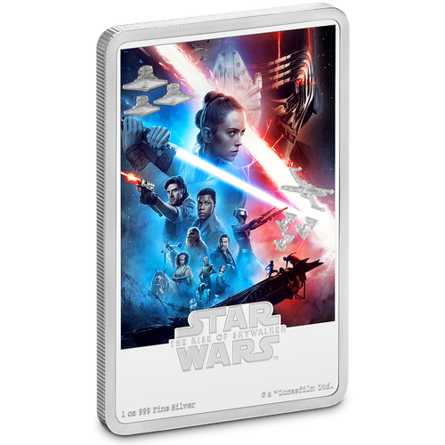 Star Wars: The Rise of Skywalker 1oz Silver Movie Poster Coin Front View