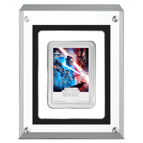 Star Wars: The Rise of Skywalker 1oz Silver Movie Poster Coin in Perspex display case