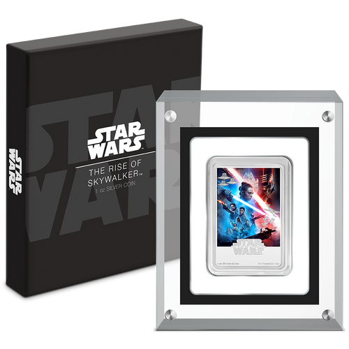 Star Wars: The Rise of Skywalker 1oz Silver Movie Poster Coin box and display case