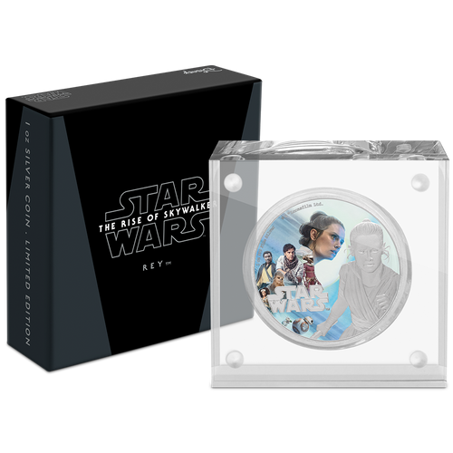 Star Wars: The Rise of Skywalker - Rey™ 1oz Silver Coin Display Box