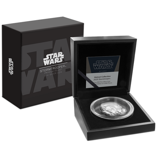 Star Wars Helmets: Stormtrooper Helmet Ultra High Relief 2oz Silver Coin Packaging