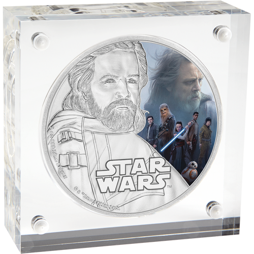 Star Wars: The Last Jedi - Luke Skywalker™ 1oz Silver Coin Display