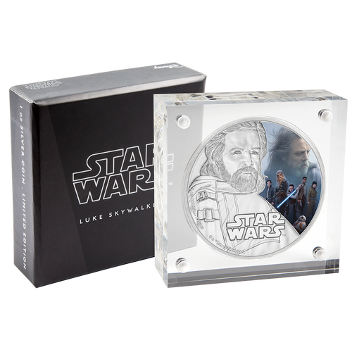 Star Wars: The Last Jedi - Luke Skywalker™ 1oz Silver Coin Packaging