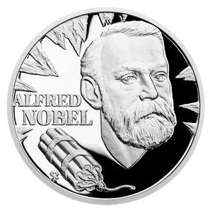 Geniuses of the 19th Century - Alfred Nobel 1oz Silver Coin Front | NZ Mint
