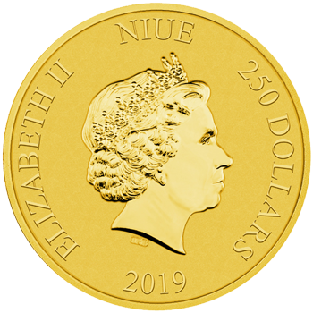 2019 1oz gold bullion coin featuring the Queen's effigy