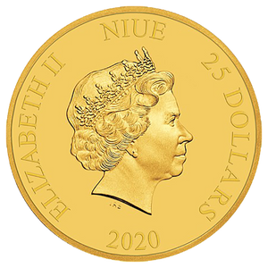 Ian Rank-Broadley Effigy of Queen Elizabeth II $25 Niue 20201/4oz Gold Coin Obverse | NZ MInt