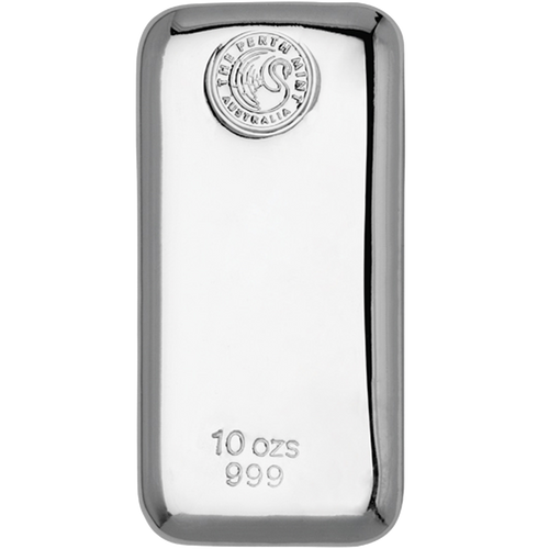 10oz Silver Bar stamped with Perth Mint - Front View