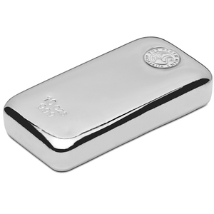 10oz Silver Bar stamped with Perth Mint - Side View