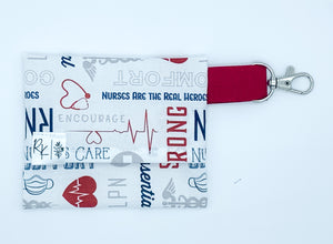 White with Red Nurses Print Mask Carry Case