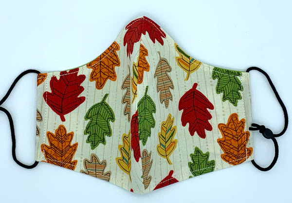 Autumn Leaves - Coloured Oak Leaves on Cream