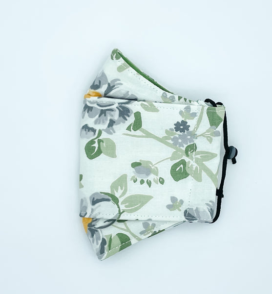 3 Layer Kate - White and Green Rose Print