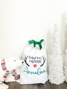Christmas Santa Sacks - Green Ruffle