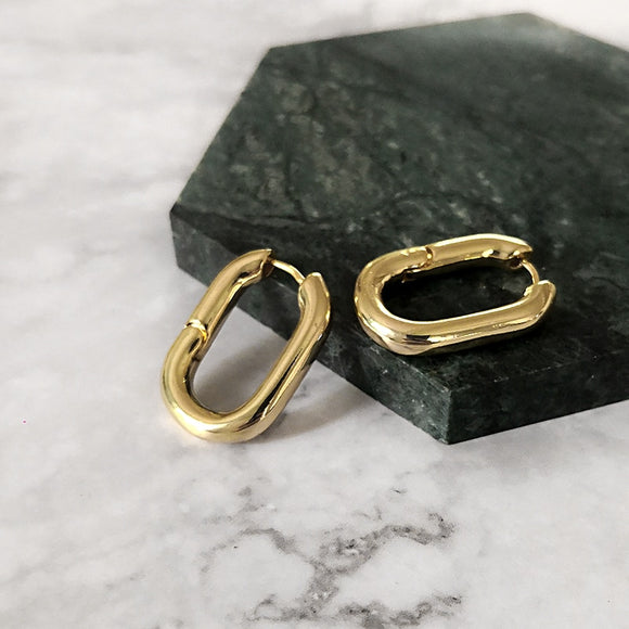 Golden Hoop Earrings Handmade Jewellery Drop Earrings Hoop Minimalist Accessories Elegant Earrings UK Free Delivery - Simply Basy