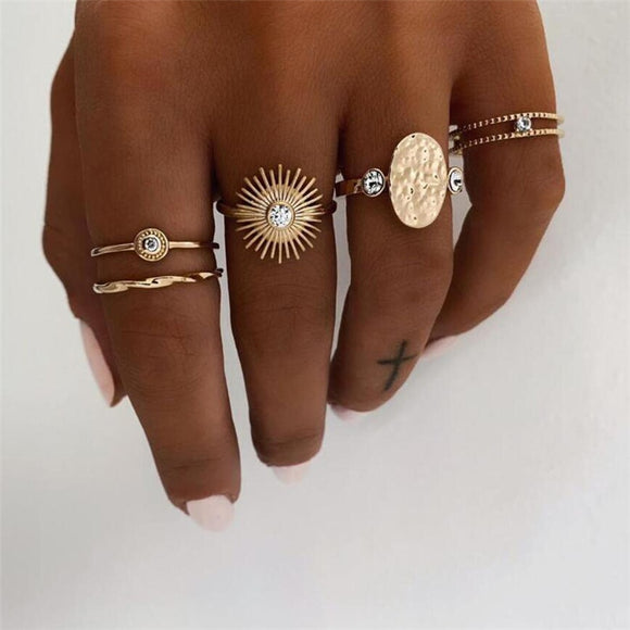 Golden Sunflower Rings Set Handmade Jewellery Drop Earrings Hoop Minimalist Accessories Elegant Earrings UK Free Delivery - Simply Basy