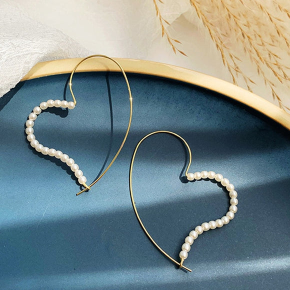 Pearl Heart Hoop Earrings - Simply Basy