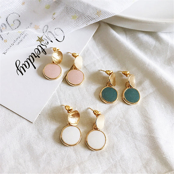 Unique Geometric Round Earrings Handmade Jewellery Drop Earrings Hoop Minimalist Accessories Elegant Earrings UK Free Delivery - Simply Basy
