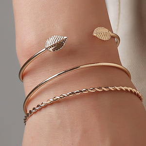 Adjustable Gold Spiral Leaf Cuffs - Simply Basy