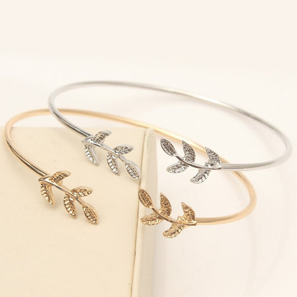 Gold Silver Plated Leaf Bracelets Handmade Jewellery Drop Earrings Hoop Minimalist Accessories Elegant Earrings UK Free Delivery - Simply Basy