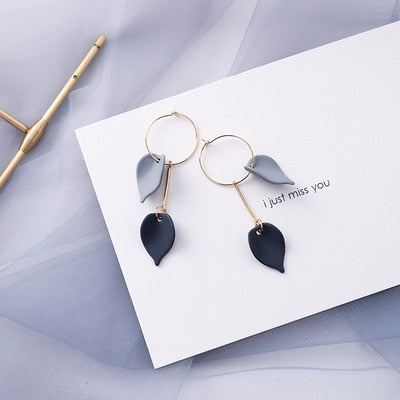 Cobalt Petal Drop Earrings - Simply Basy