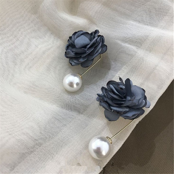 Navy Rose Pearl Drop Earrings - Simply Basy