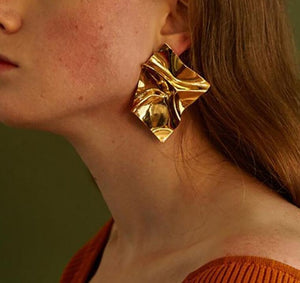 Abstract Wrinkled Golden Foil Statement Drop Earrings - Simply Basy