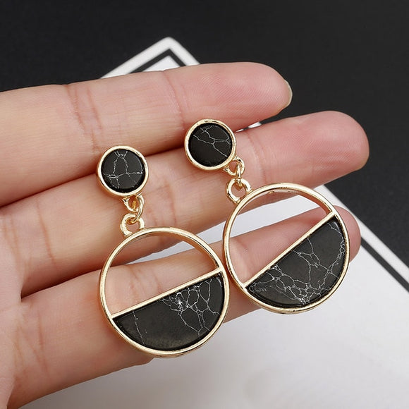 Golden Plated Black/ White Marble Geometric Retro Statement Drop Earrings - Simply Basy