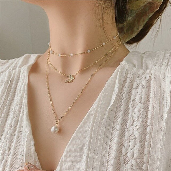 Golden Pearl Necklace Set Handmade Jewellery Drop Earrings Hoop Minimalist Accessories Elegant Earrings UK Free Delivery - Simply Basy