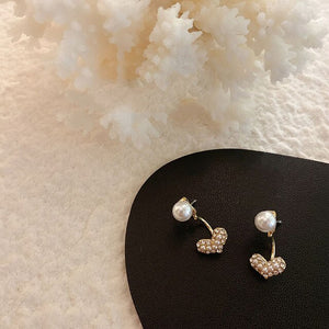 Pearl Heart Stud Earrings - Simply Basy