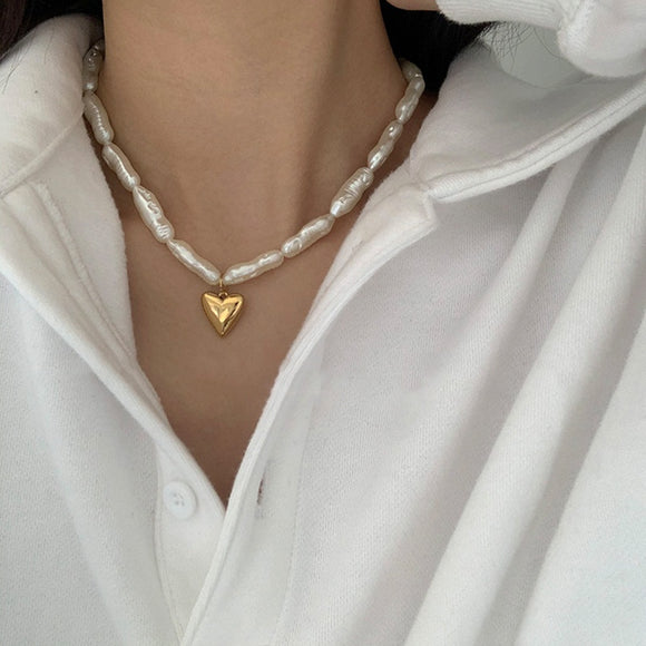 Gold Plated Heart Necklace - Simply Basy