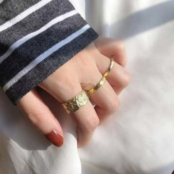 Wrinkled Matte Gold Open Rings - Simply Basy