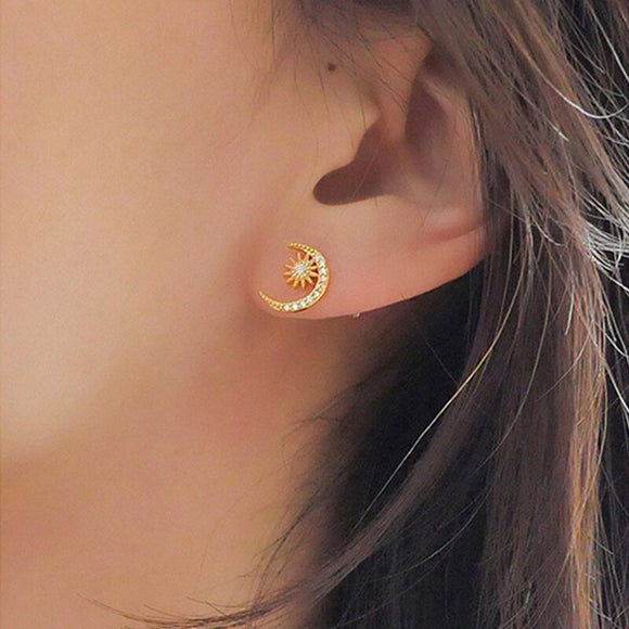 Dainty Rhinestone Moon Earrings - Simply Basy