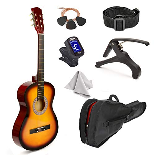 "38"" Wood Guitar With Case and Accessories for Kids"
