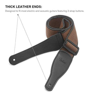 Soft Cotton & Genuine Leather Guitar Strap
