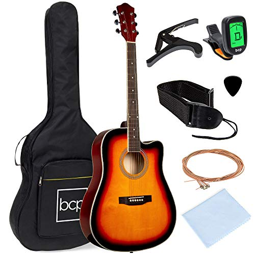 41in Full Size Beginner All Wood Cutaway Acoustic Guitar Starter Set