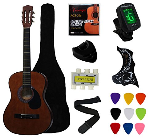 "38"" Coffee Beginner Acoustic Guitar Starter Package"