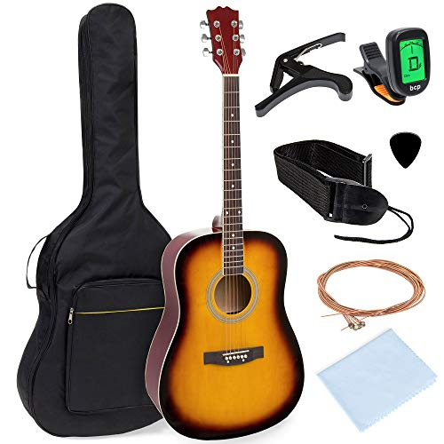 41in Full Size Beginner All Wood Acoustic Guitar Starter Set