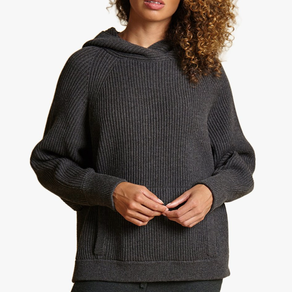 HOODED PONCHO TUNIC- Graphite