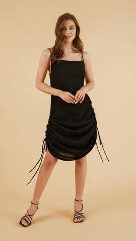 Front Profile - Moon Drawstring Dress Black