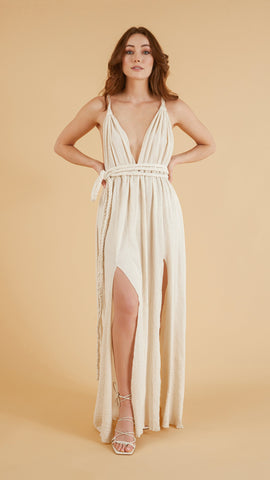 Muse Braided Straps Dress - Natural