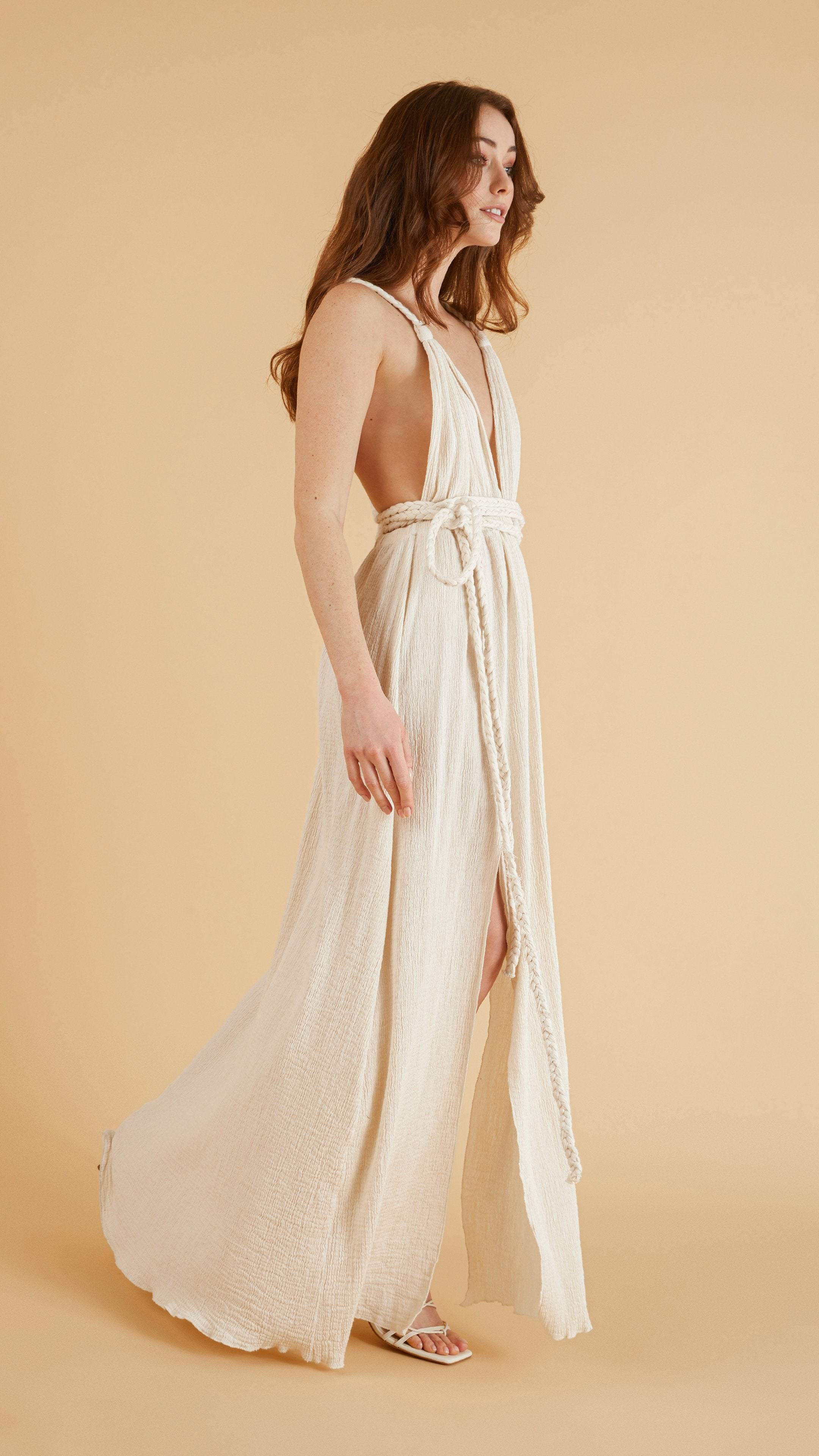 Side slit - Muse Braided Strap Dress in Natural