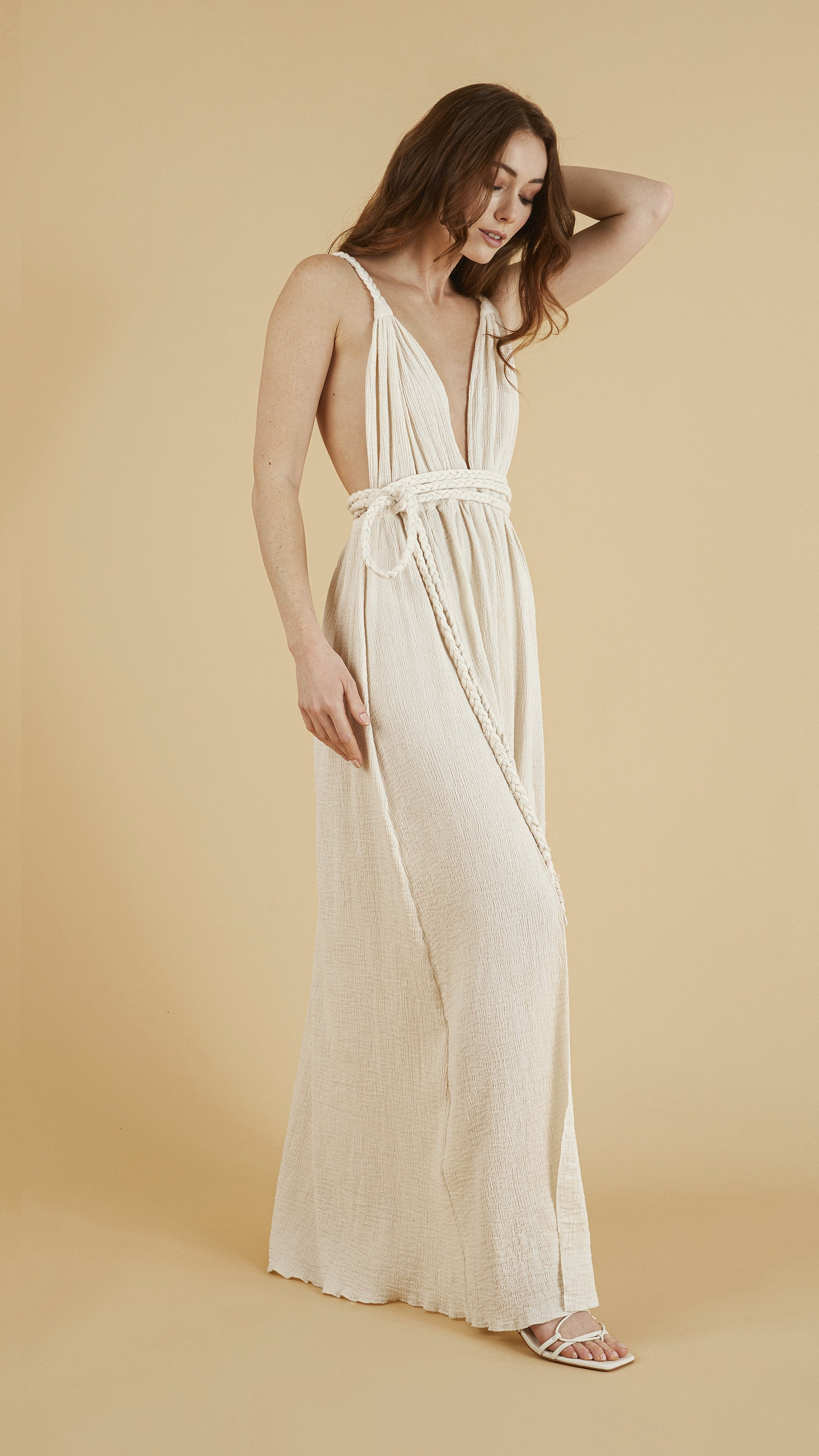 Full length - Muse Braided Strap Dress in Natural