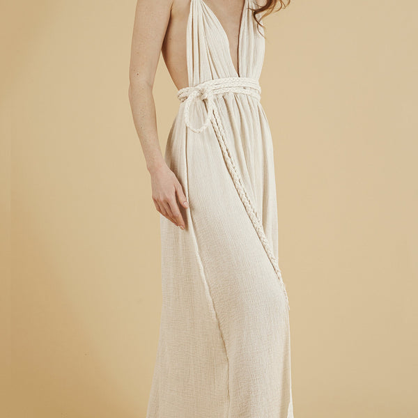 Front profile - Muse Braided Strap Dress in Natural