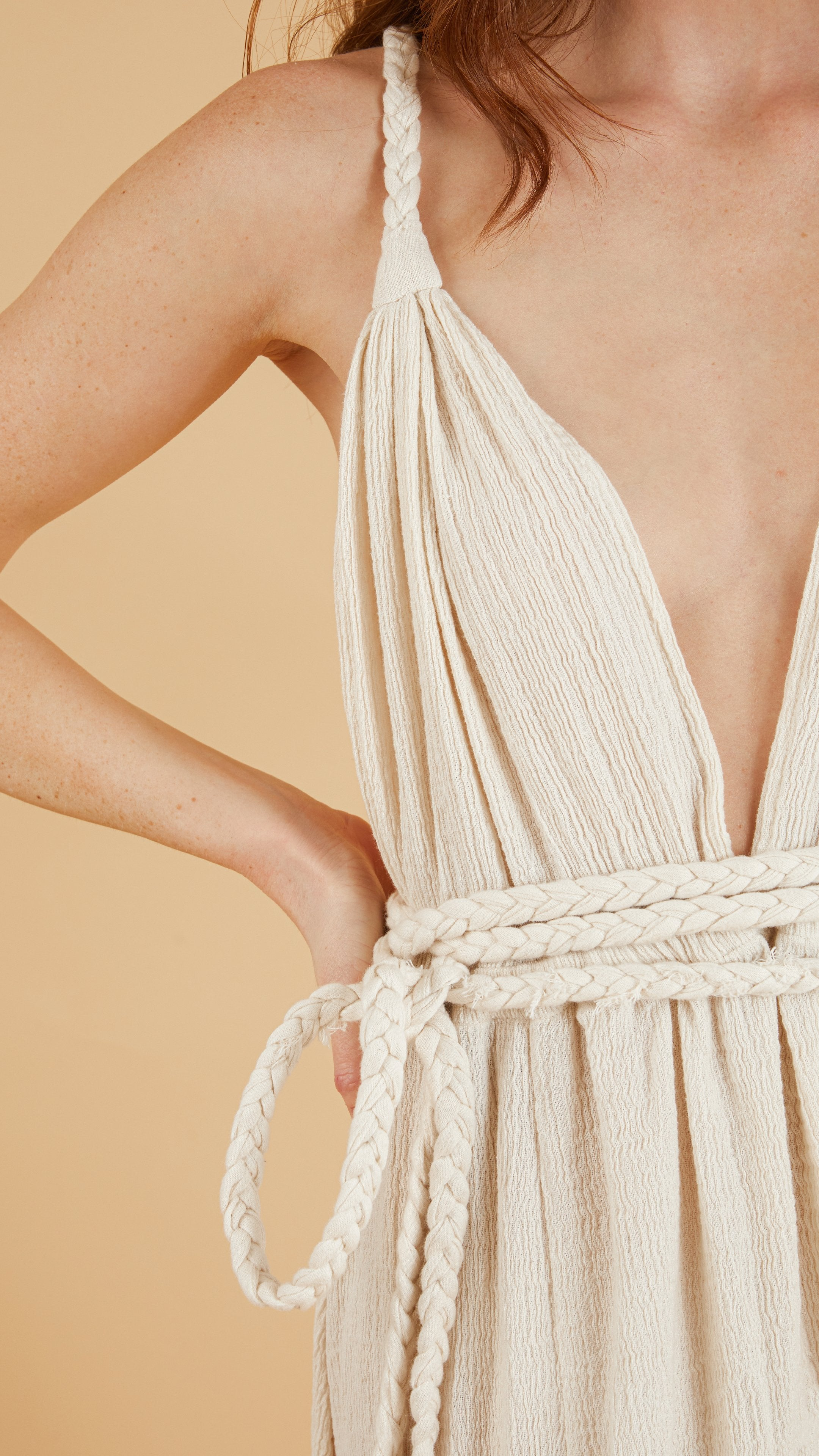 Close up - Muse Braided Strap Dress in Natural
