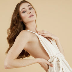 Side profile - Muse Braided Strap Dress in Natural