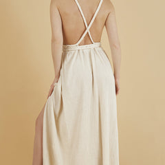 Back profile - Muse Braided Strap Dress in Natural