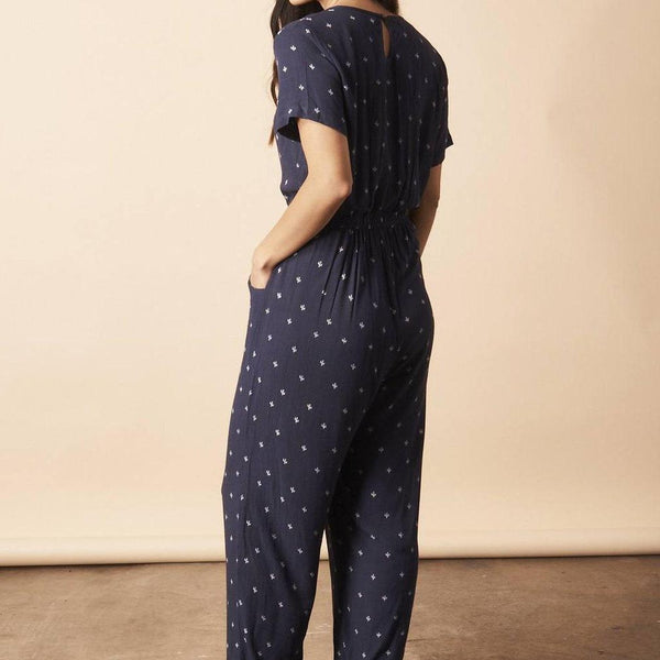 front profile, Baby Cacti Cropped Jumpsuit in Navy + Cream