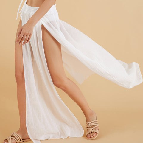 Lifestyle - Sunset Beach Pareo White Skirt